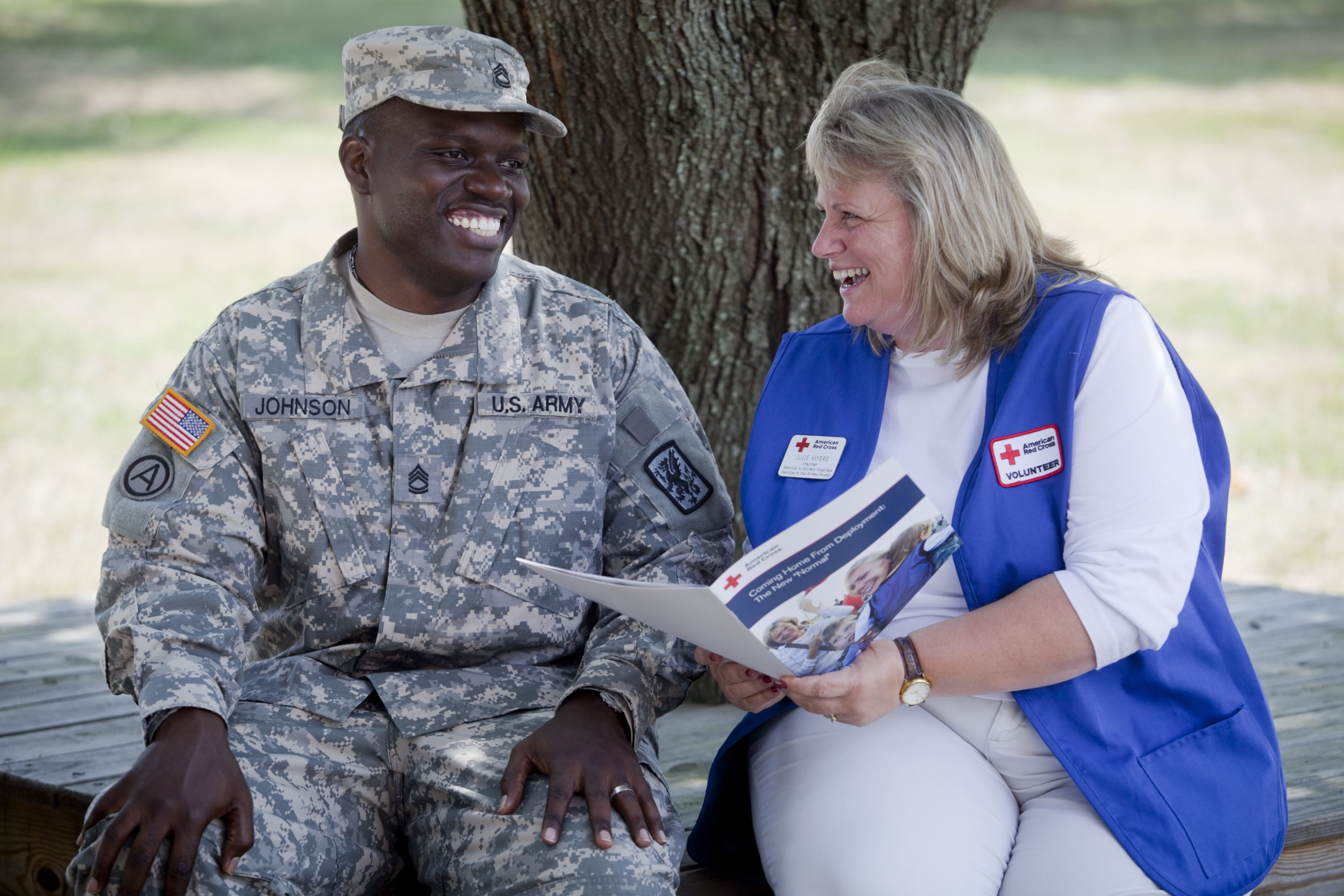 American Red Cross with soldier